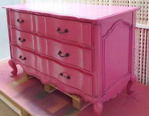 Pink Chest of Drawers being sprayed
